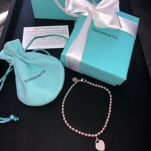 Tiffany & Co. Silver Bead Heart Bracelet